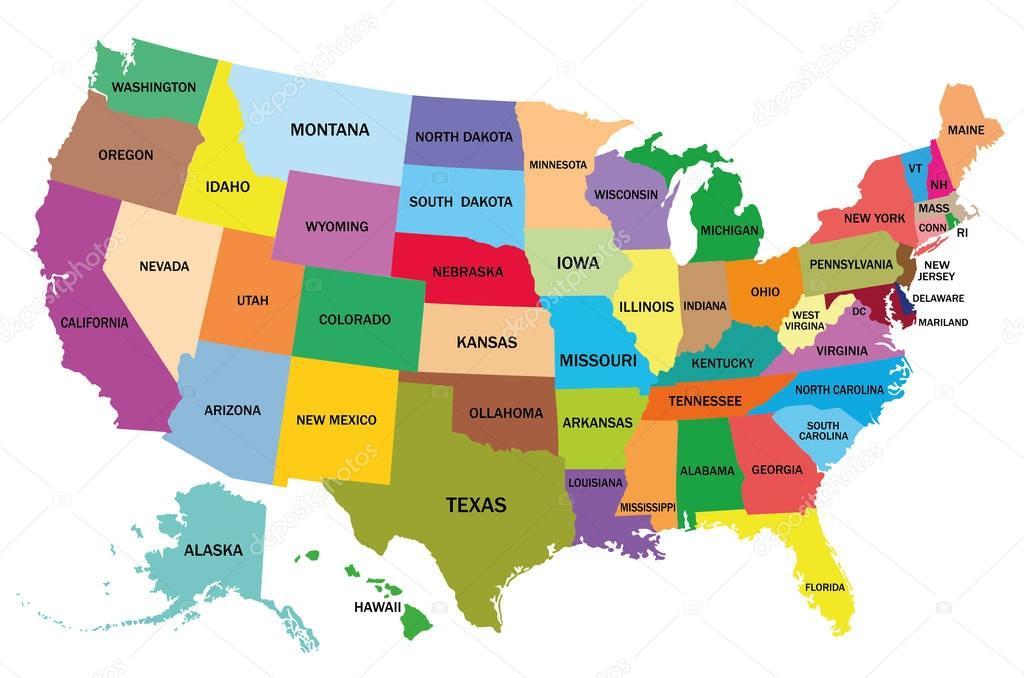 staaten amerika karte karte von den vereinigten staaten von amerika — Stockvektor  staaten amerika karte