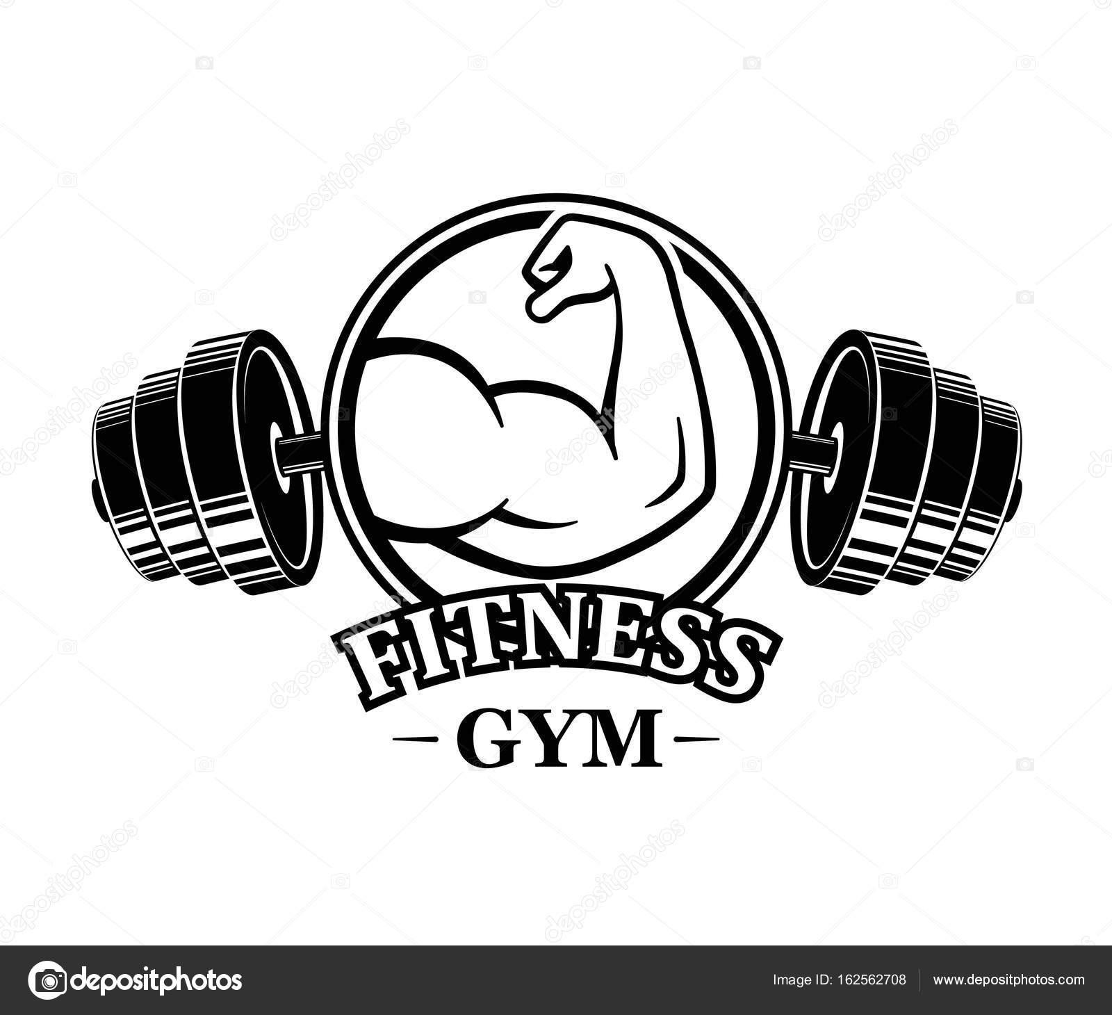 Fitness embleme muskel armss power symbol gestaltete elemente das konzept des online shoppings computer laptop smartphone und tablet mit markise vektor hintergrund vektor von comauthor biocorpaavc Choice Image