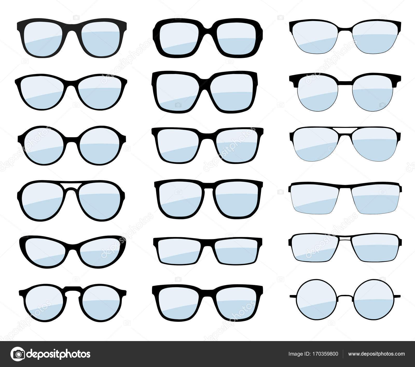 100% authentisch wie man bestellt große Auswahl Eine Reihe von Gläsern isoliert. Vektor-Brillen-Modell-Icons ...
