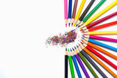 Color pencils isolated on white background, semicircle