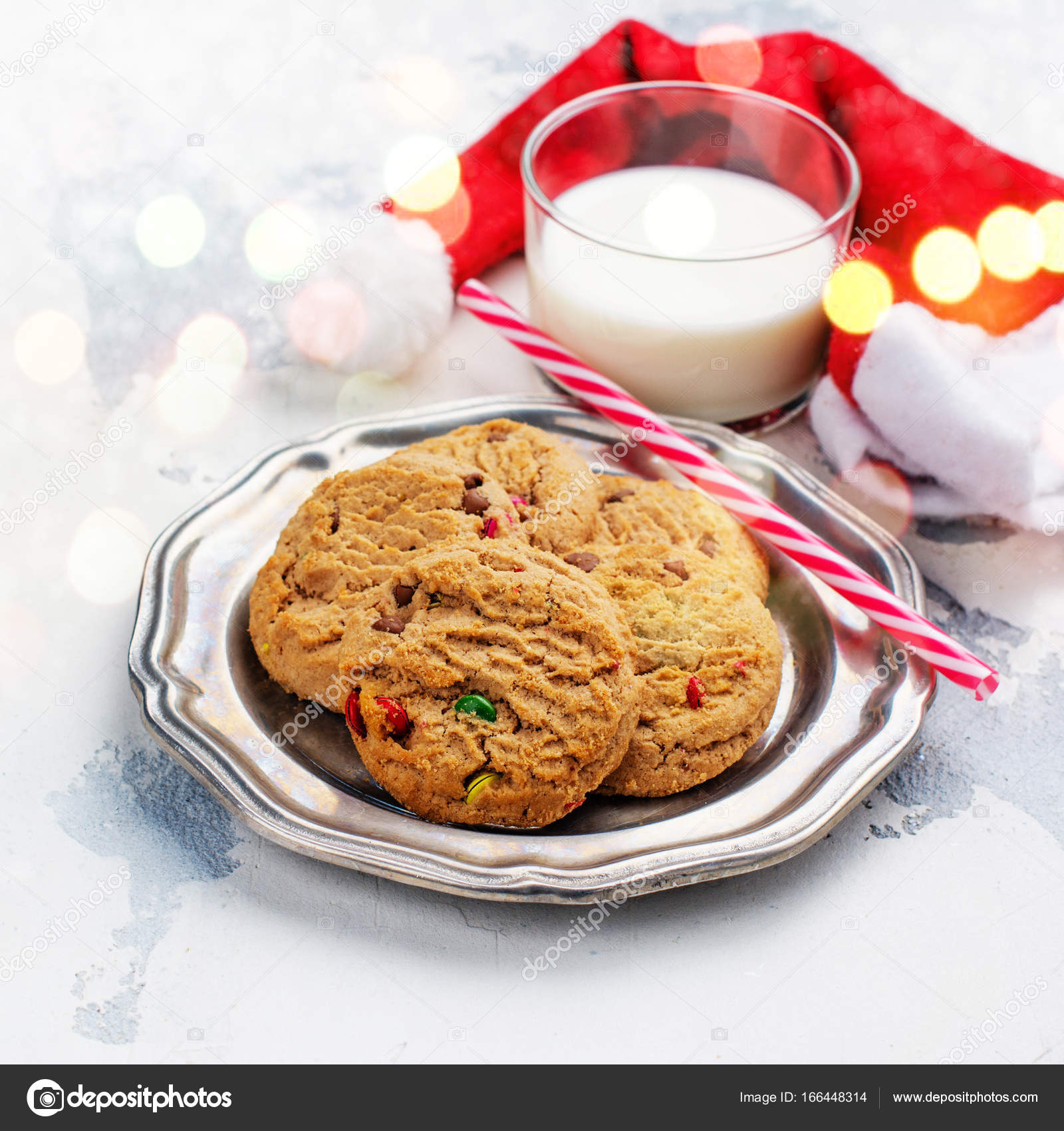 Milk And Cookies For Santa Claus Stock Photo C Happy Lark 166448314