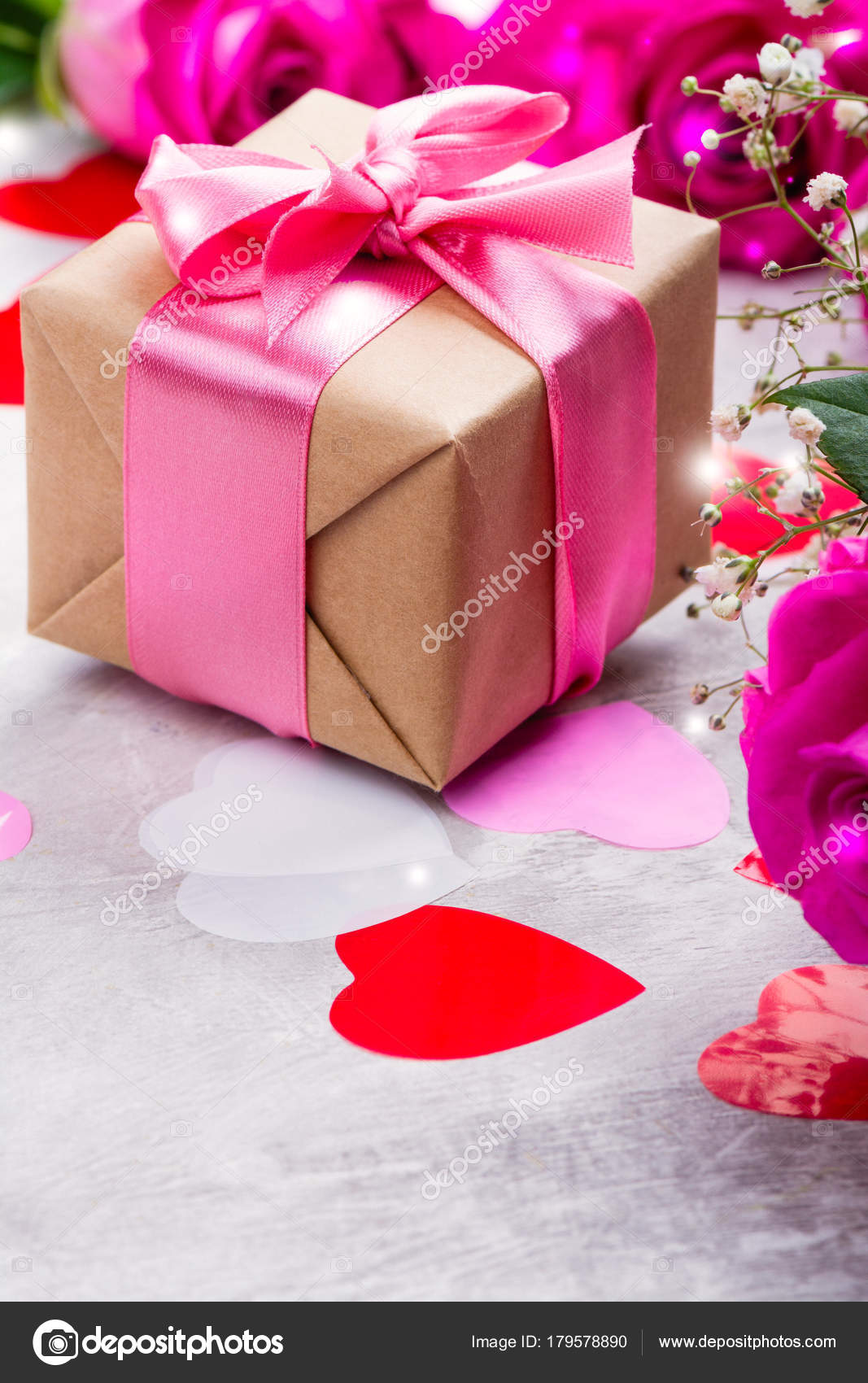 Beautiful roses on wooden background. Valentines day or mothers day ...