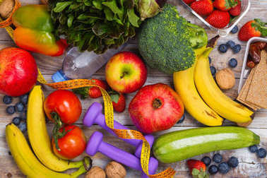 Assortment of healthy fruits and vegetables
