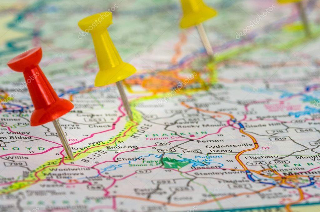 Colourful Pushpins on a Road Map of Virginia — Stock Photo ...