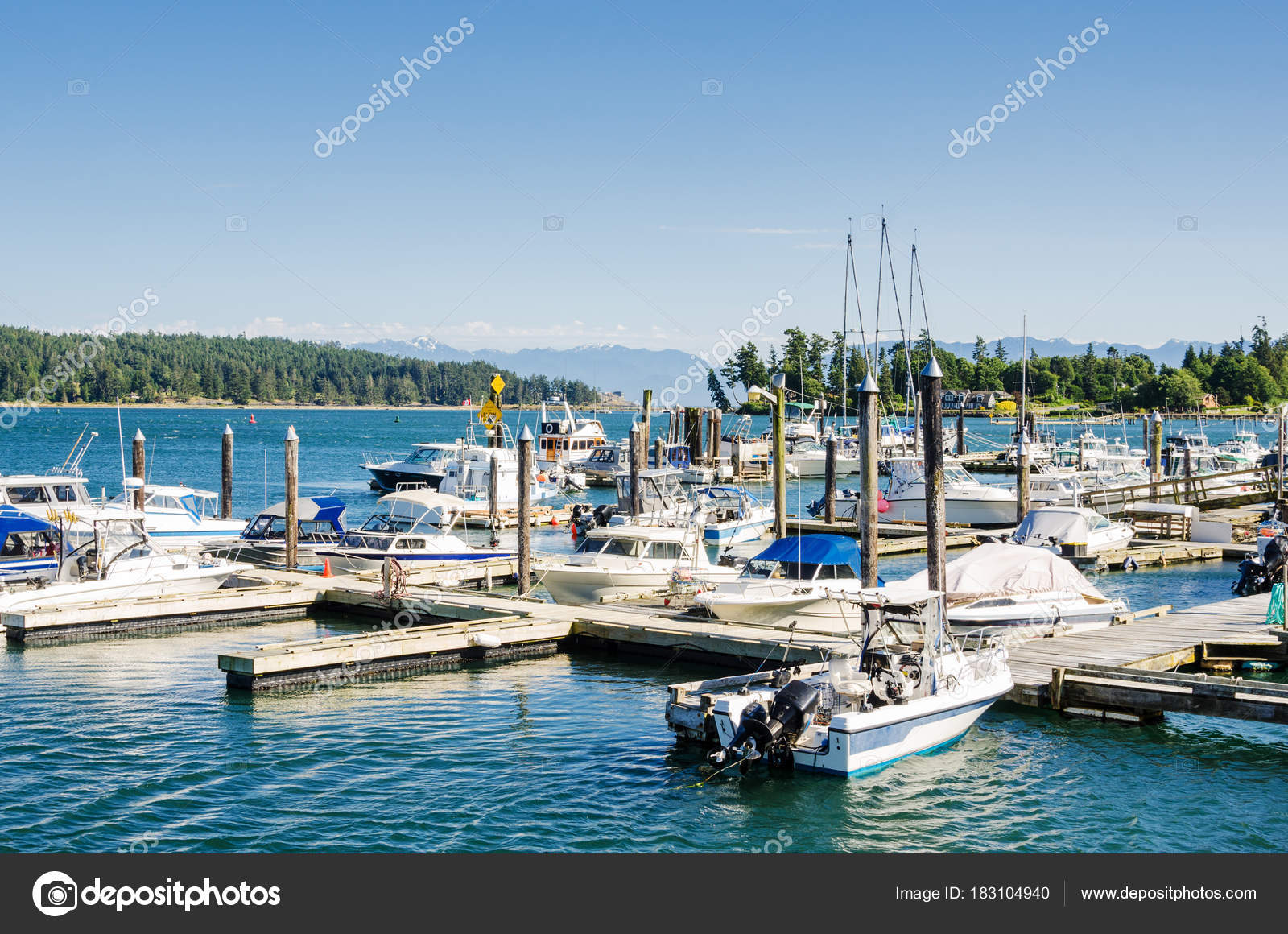 Boats Tied Jetties Harbour Clear Sky Summer Day Sooke Canada