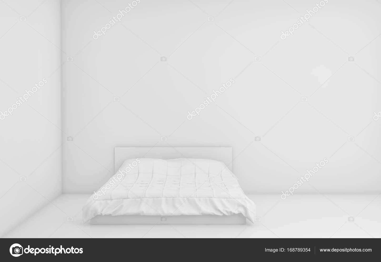 blanc chambre lumineuse avec lit et le mur d'arrière-plan vide