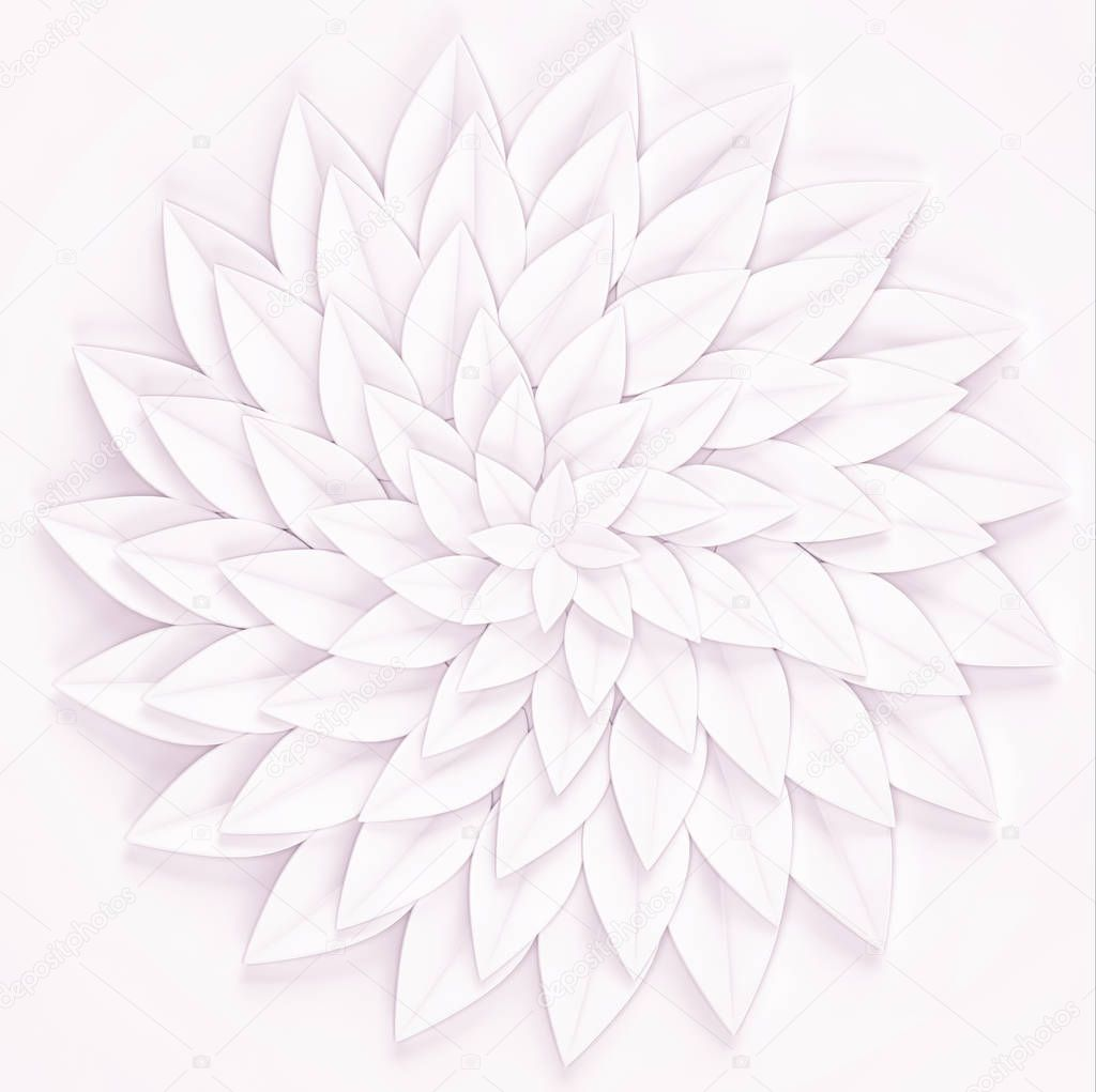 White paper flower on a white background. 3d render