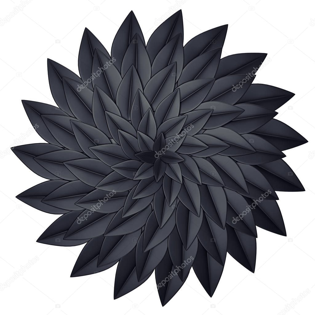 Black paper flower on a white background. 3d render