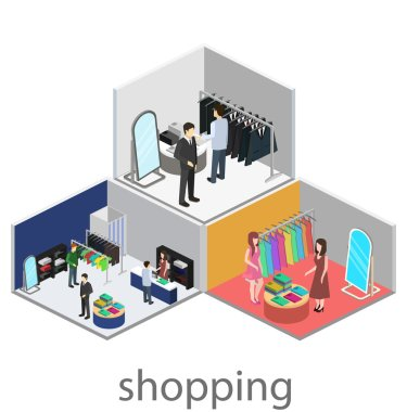 Isometric interiors of shoping mall