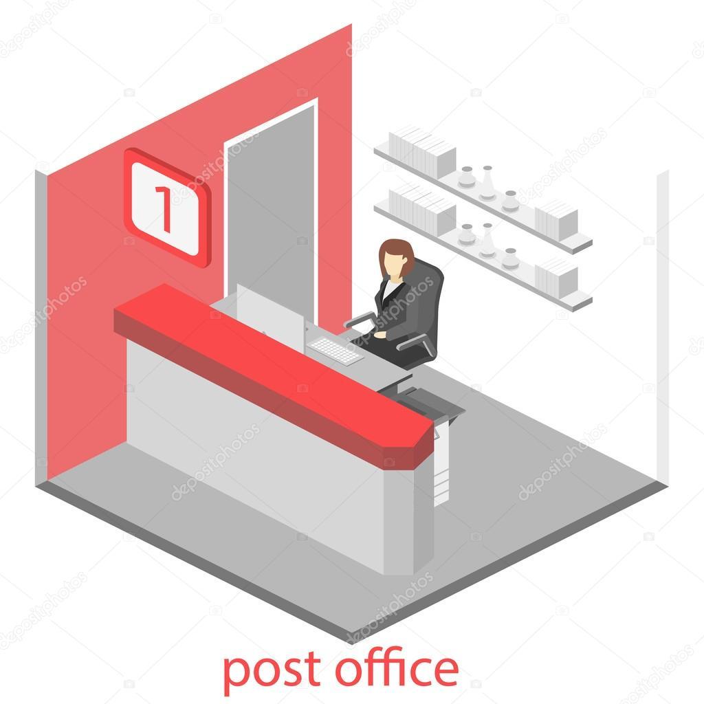 isom trique int rieur du bureau de poste image. Black Bedroom Furniture Sets. Home Design Ideas