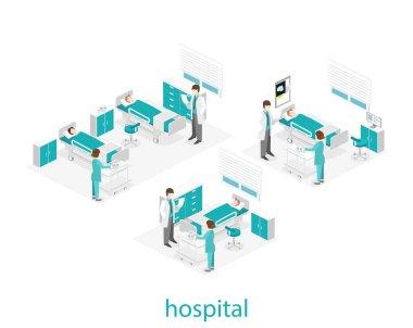 Isometric flat interior of hospital