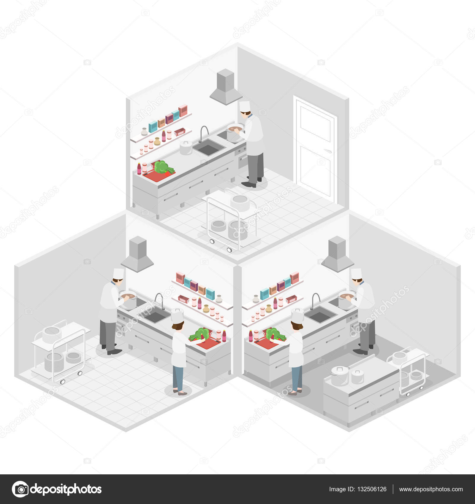 Interior Of Professional Restaurant Kitchen Stock Vector