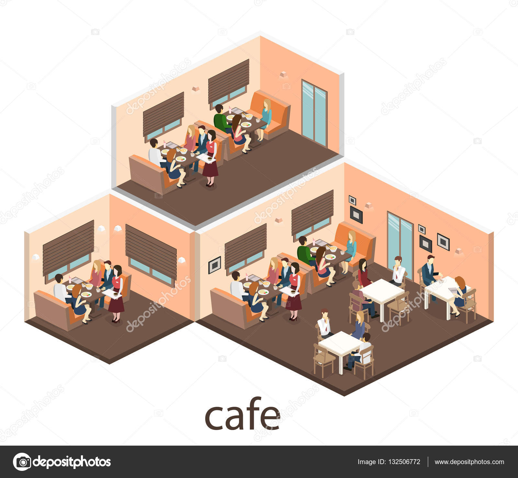 Isometric interior of coffee shop stock vector reenya - Interiores de restaurantes ...