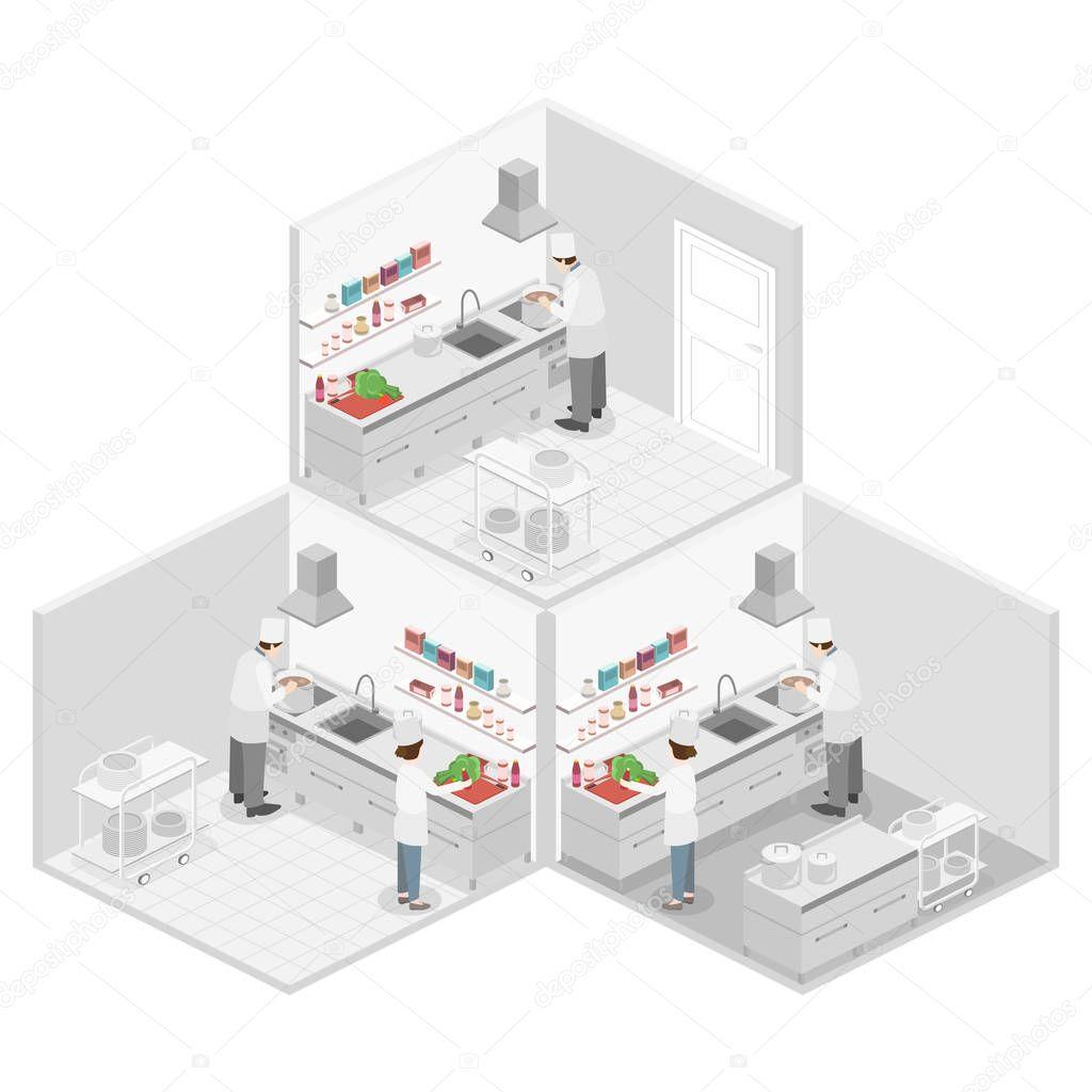 Isometric Flat 3d Concept Interior Of Professional Restaurant Kitchen Premium Vector In Adobe Illustrator Ai Ai Format Encapsulated Postscript Eps Eps Format