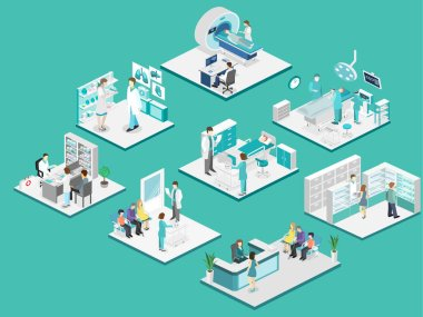 Isometric flat interior of hospital room, pharmacy, doctor's office, waiting room, reception, mri, operating. Doctors treating the patient. Flat 3D vector illustration stock vector