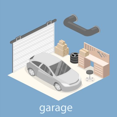 working place with tools in garage