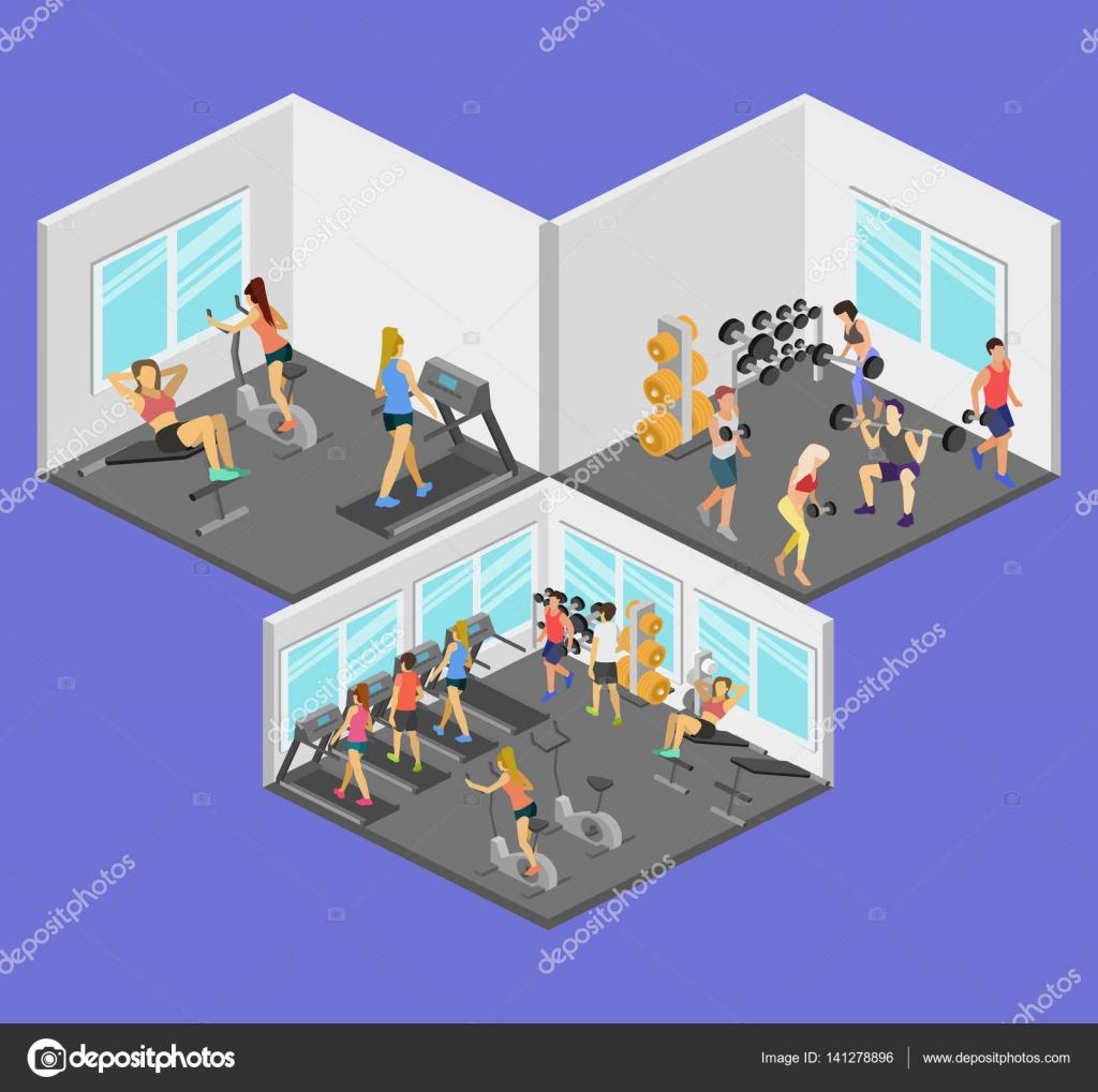 Isometric interior of gym — Stock Vector © reenya #141278896