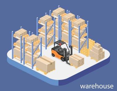 isometric interior of warehouse