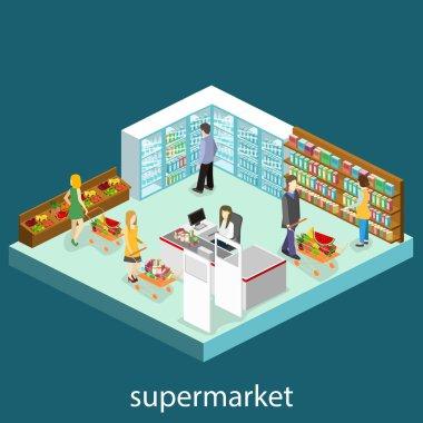Isometric interior of grocery store
