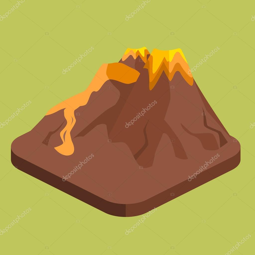 Isometric volcano magma
