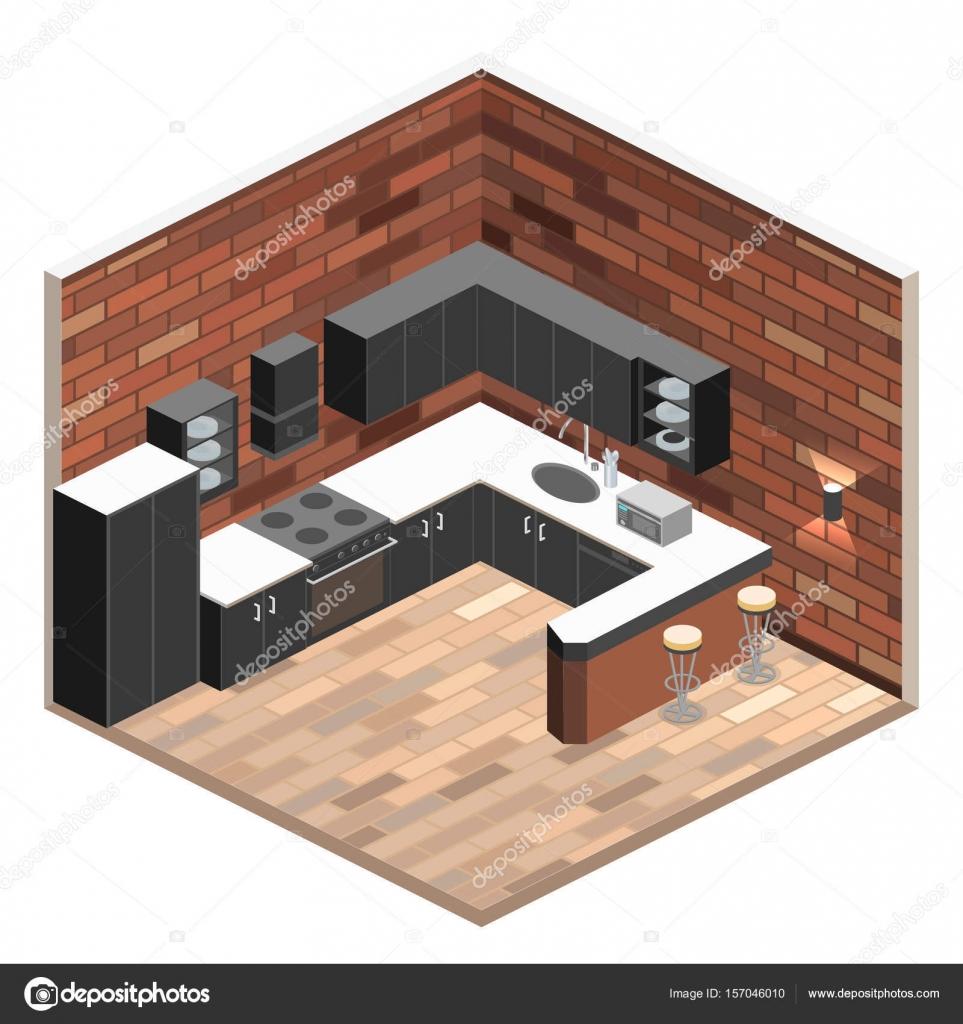 Kitchen Interior Perspective: ストックベクター © Reenya