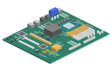 computer motherboard isometric icon