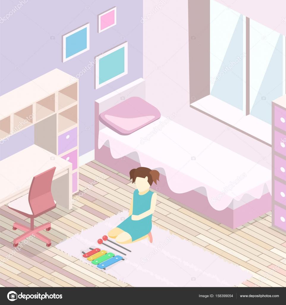 Meisje alle roze slaapkamer interieur — Stockvector © reenya #158399054