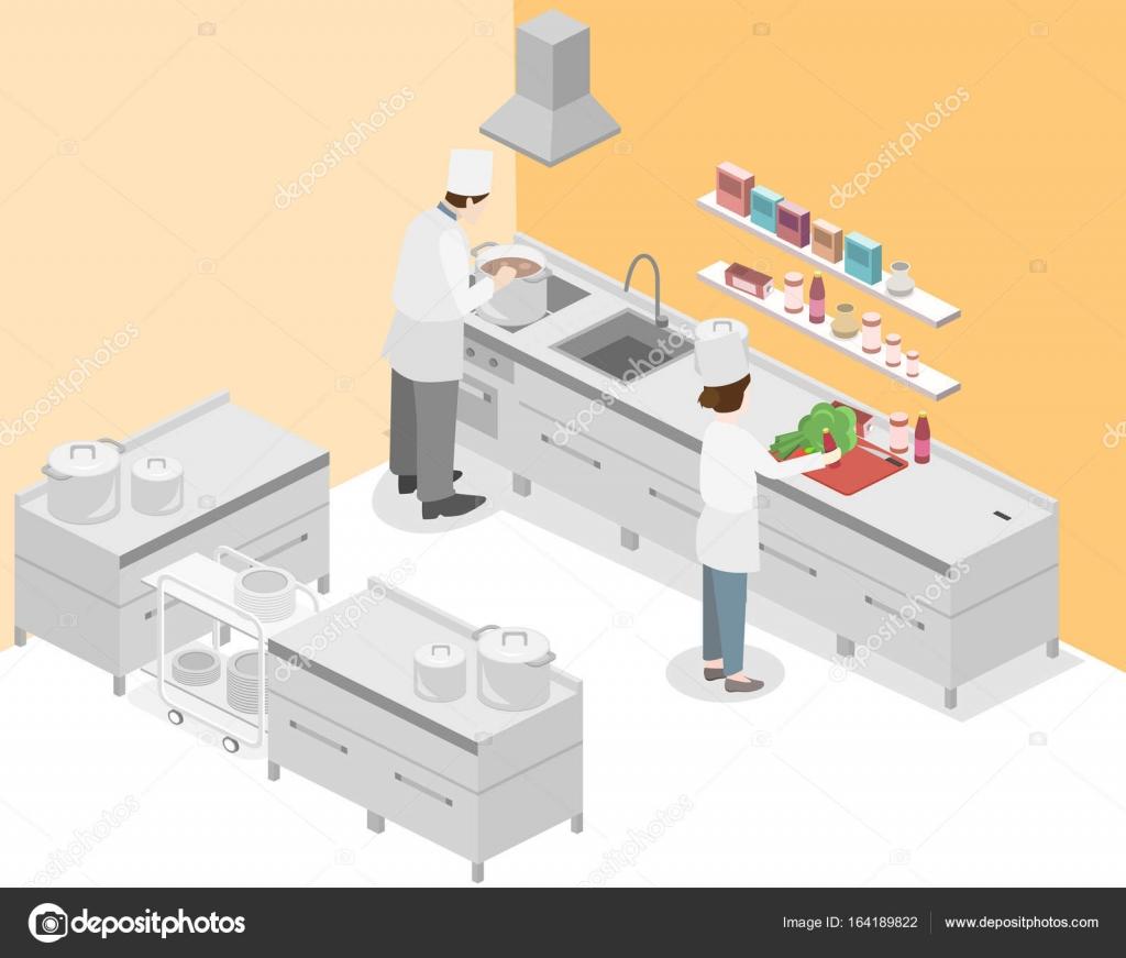 cuisine professionnelle restaurant — image vectorielle reenya