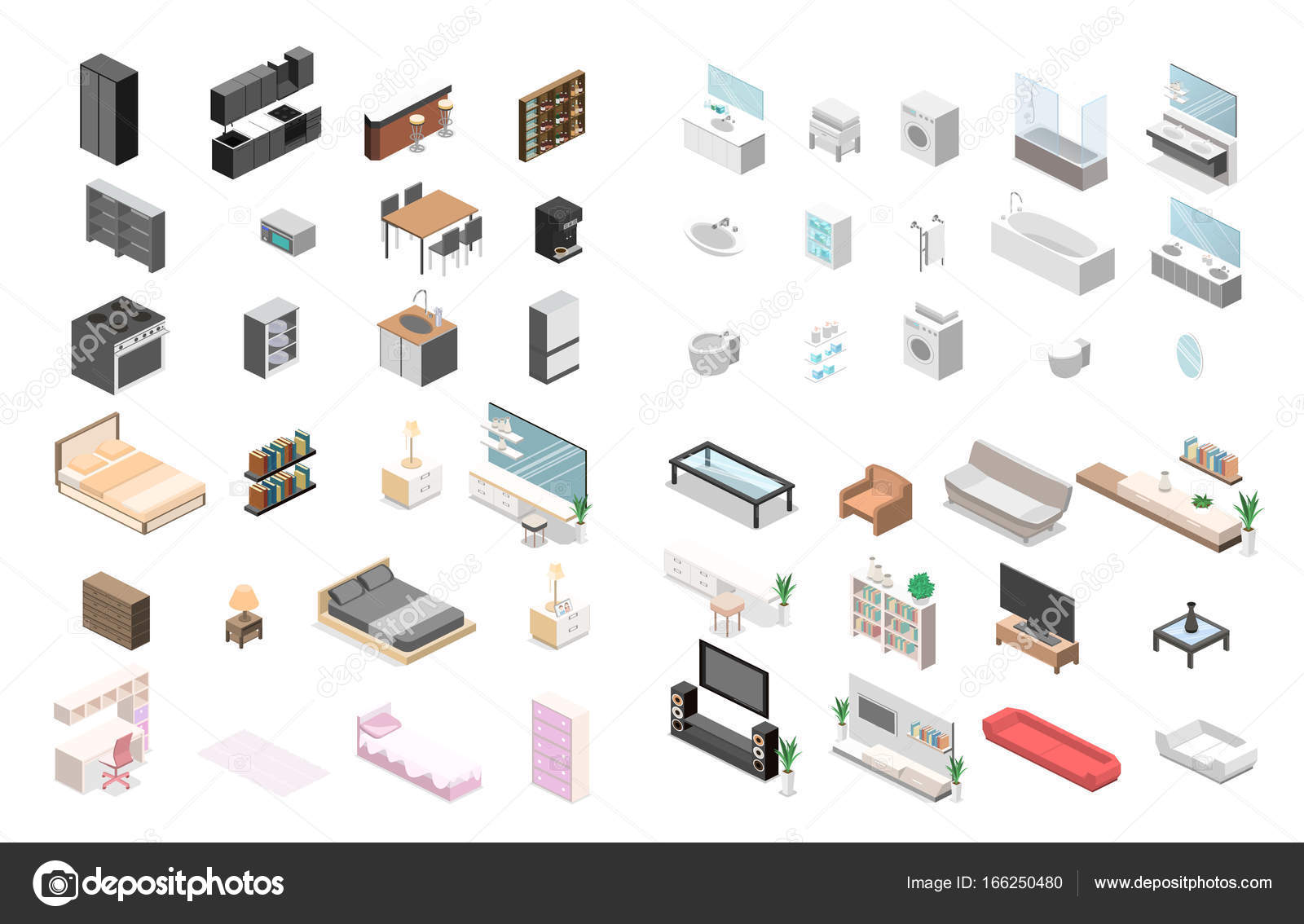 Isometric Furniture for an apartment. — Stock Vector ...