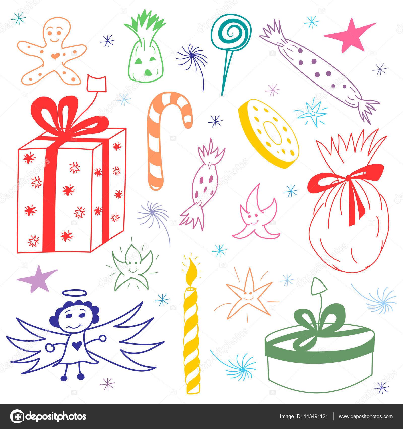 カラフルな手描きのお菓子、ギフト、キャンドル、星や雪のクリスマス