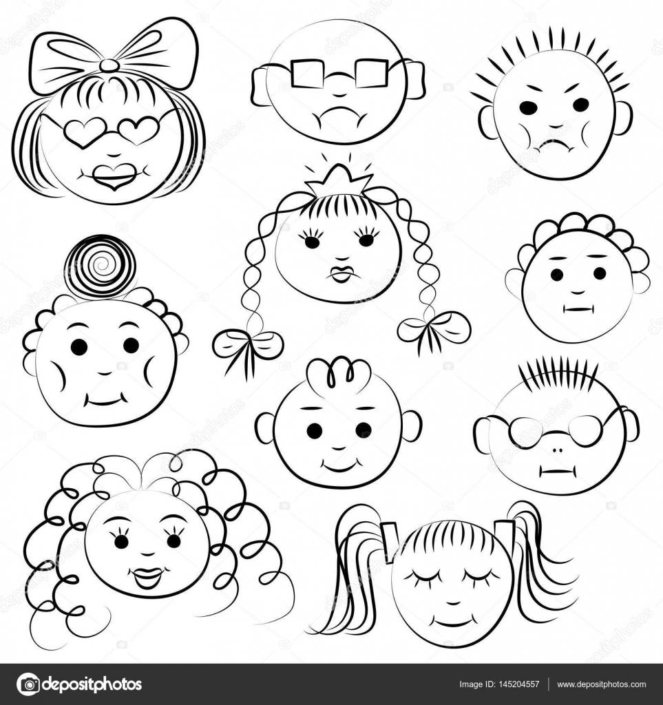 Zestaw Dziesięciu Uroczych Dzieci Rysunki Dzieci śmieszne Twarze