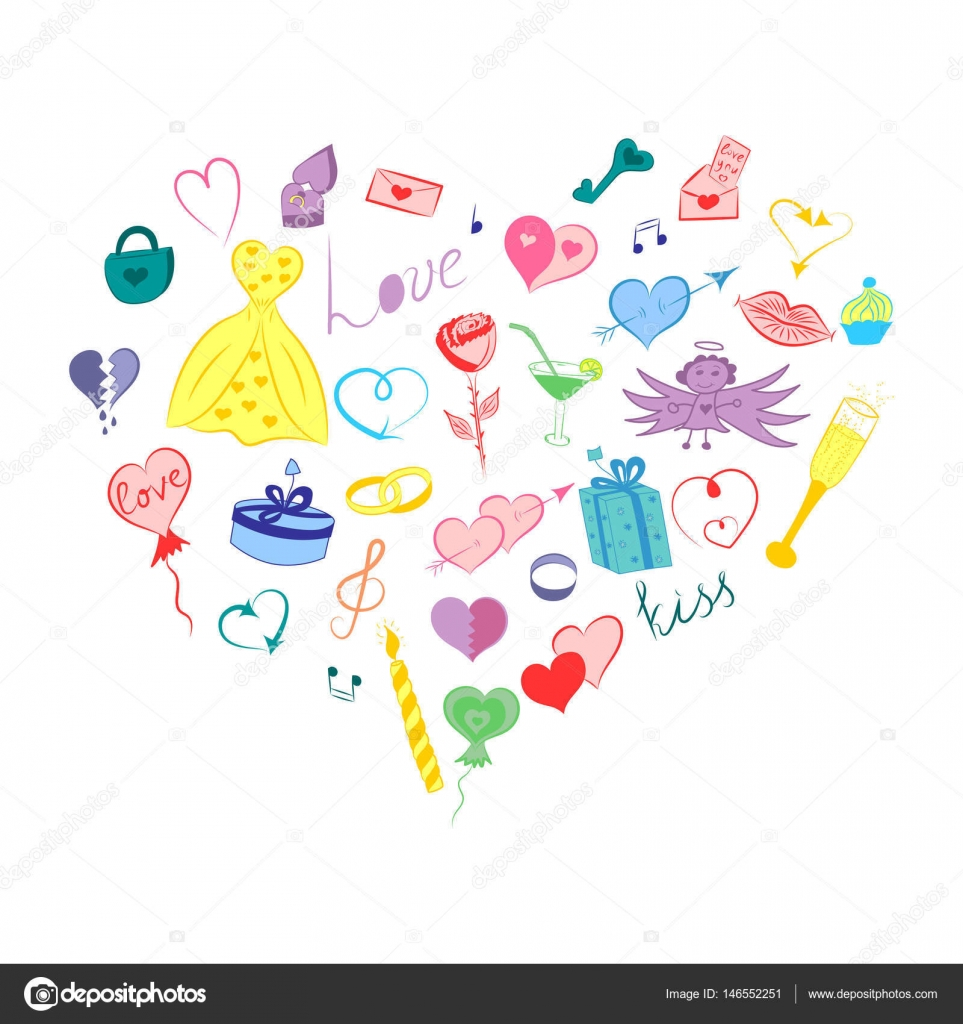 Hand Drawn Valentines Day Symbols Children S Cute Doodle Drawings