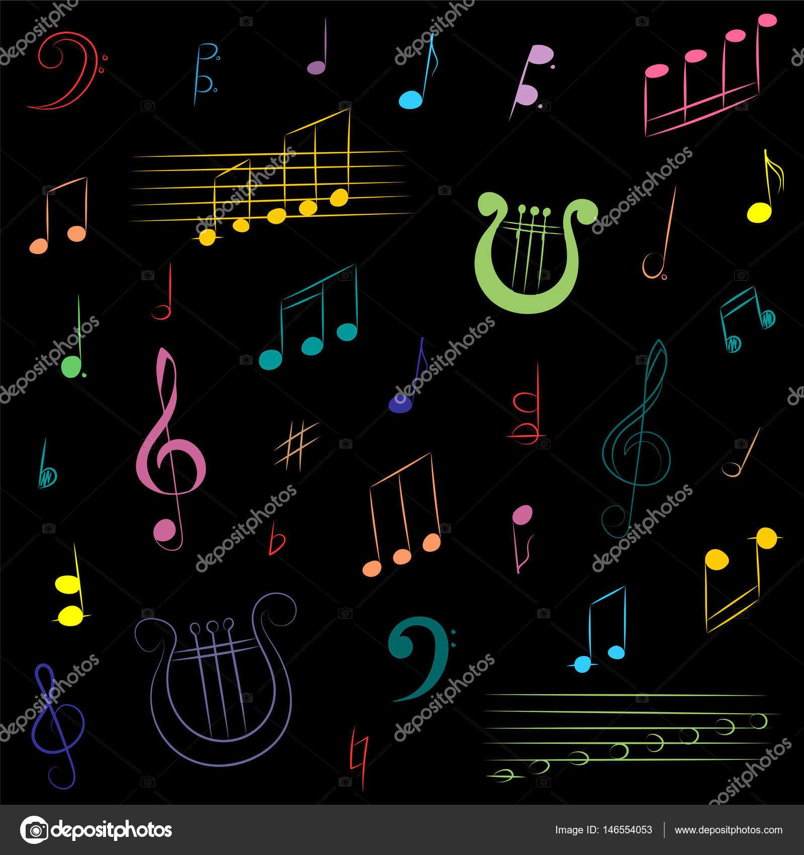 Mão Extraídas Conjunto De Símbolos De Música Clave De Sol Colorido