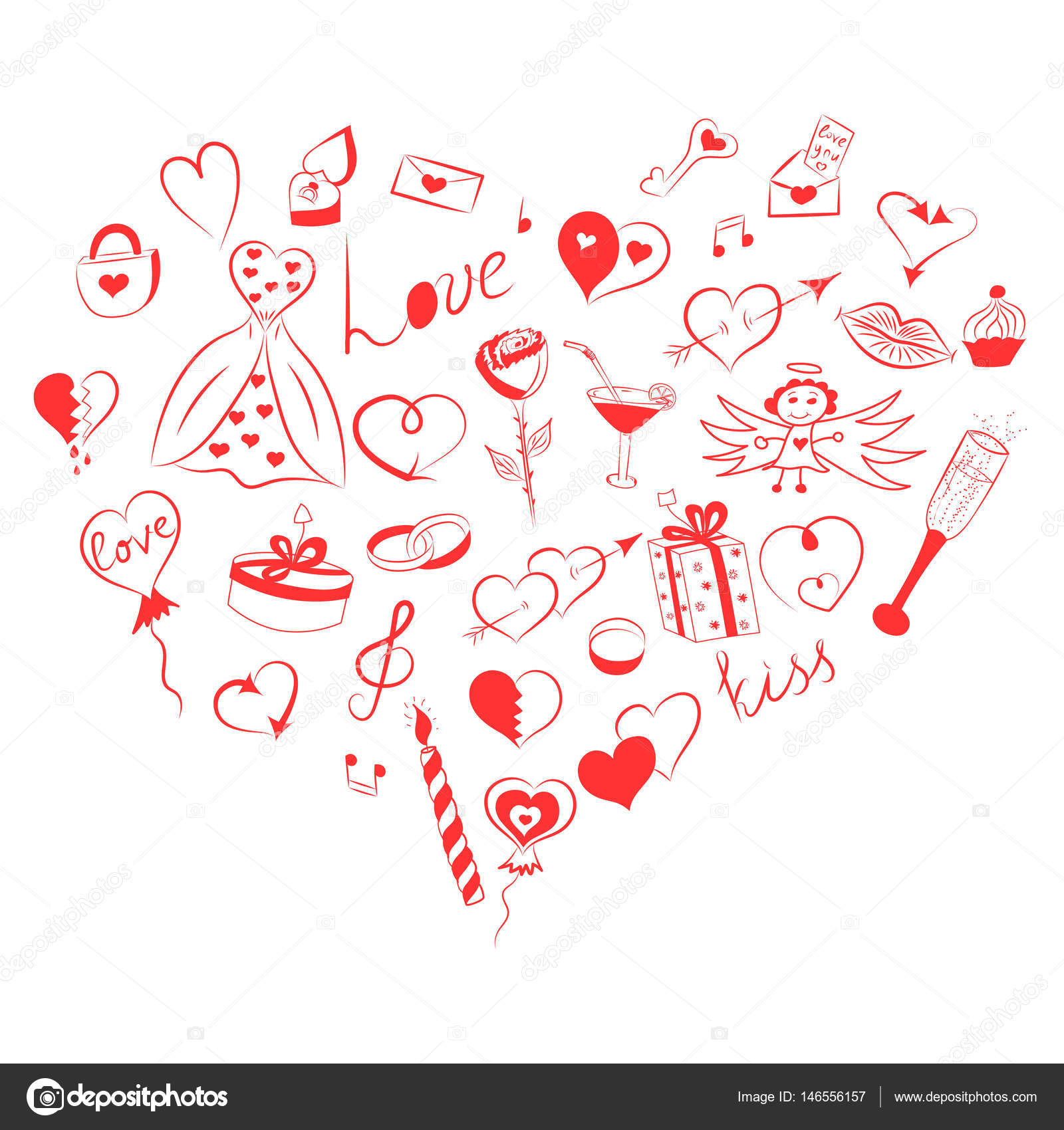 Hand Drawn Set Of Valentine S Day Symbols Children S Funny Doodle