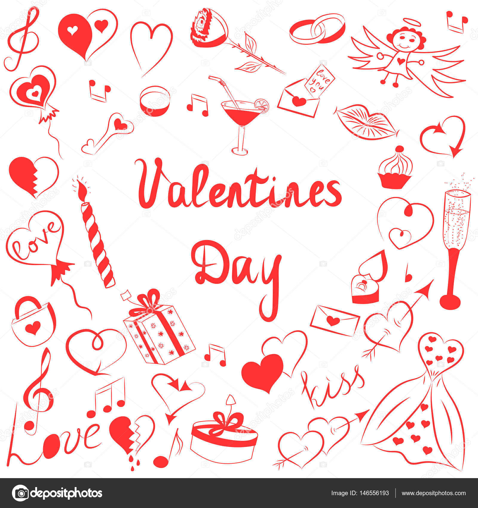 Hand Drawn Set Of Valentineu0027s Day Symbols. Childrenu0027s Funny Doodle Drawings  Of Red Hearts,