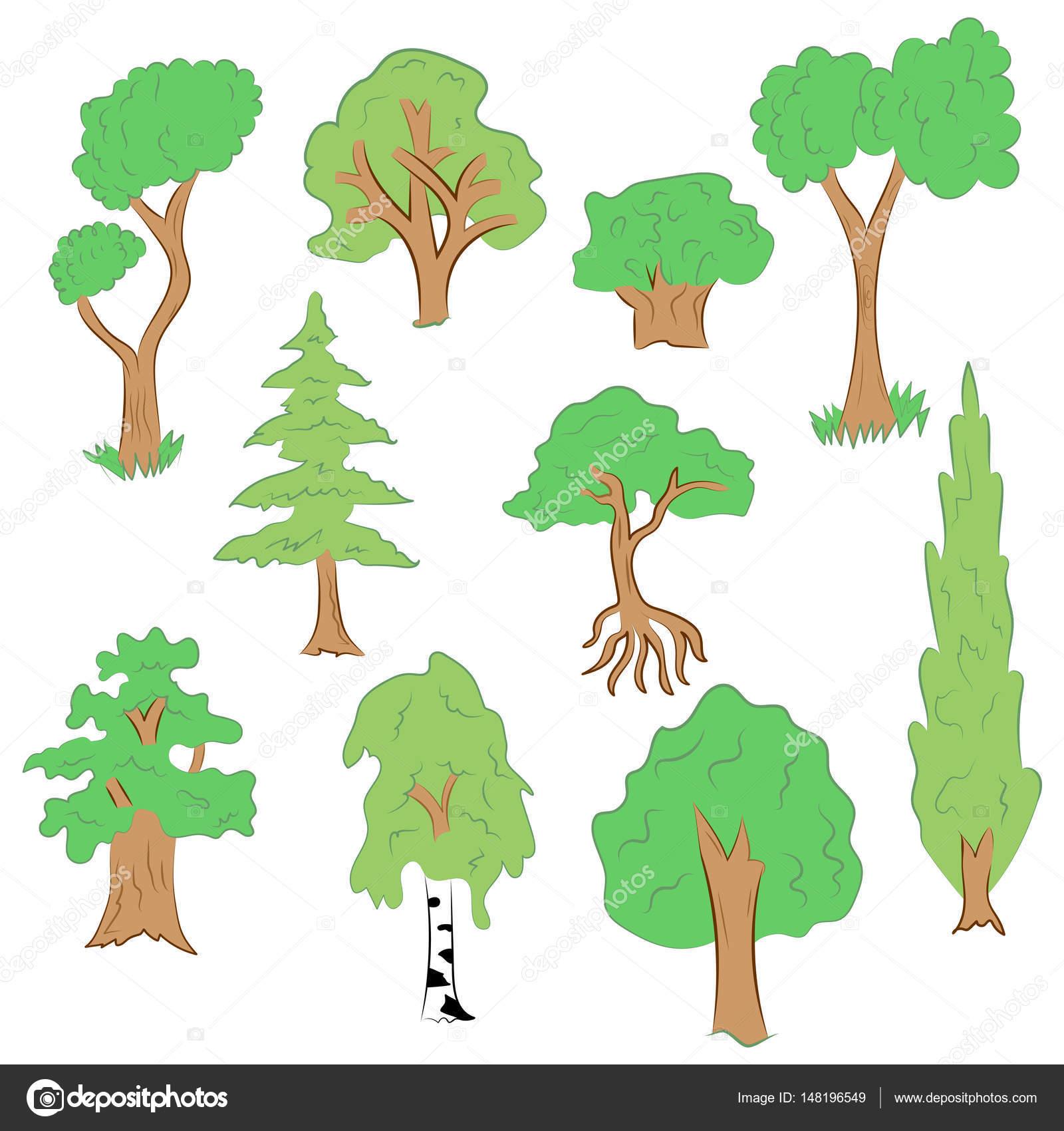 Rucne Tazene Sada Stromu Doodle Kresby Zelena Jedle Cypress Briza