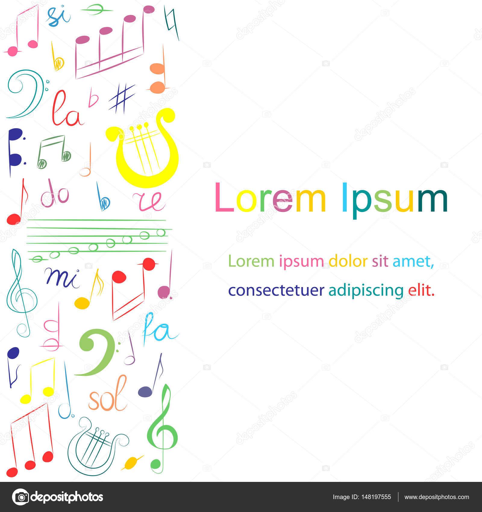Colorida mano dibujado conjunto de símbolos musicales. Doodle de ...
