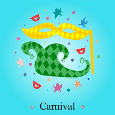 Colorful Hand Drawn Mask, Shoe, Stars and Lips Arranged in a Circle. Doodle Carnival Symbols.