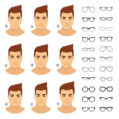 Types of eyeglasses for different men face. Vector icon set.