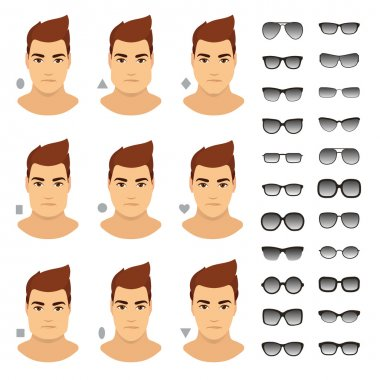Types of glasses for different man face. Vector icon set.