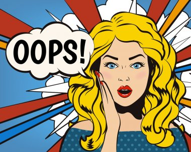 Woman says Oops! Surprised blonde girl with Oops bubble.