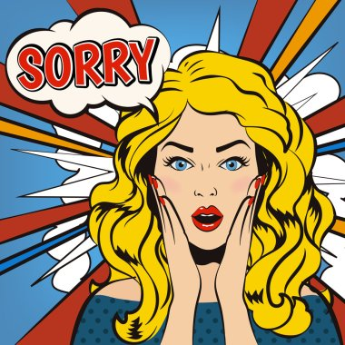 Sorry. Surprised woman with Sorry speech bubble. Cartoon vector illustration in pop up style.