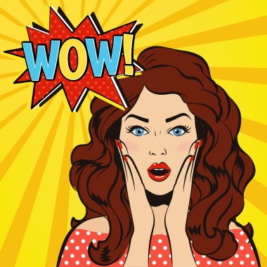 Wow woman. Surprised vector cartoon girl. Pop up style.