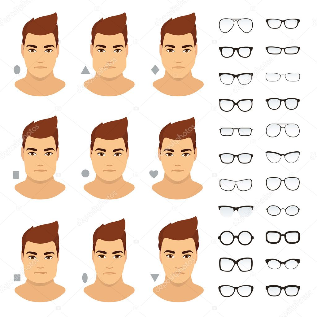 types of eyeglasses for different men face vector icon set stock
