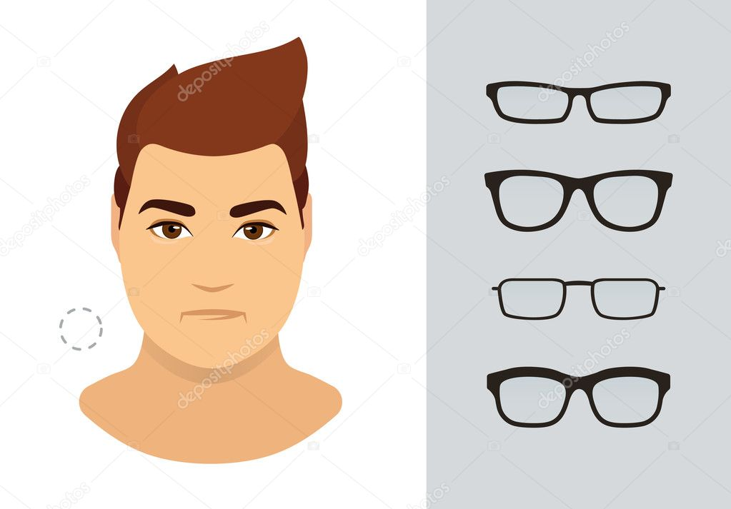 Man eyeglasses shapes for round man face type. Various forms of ...