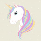 White unicorn head with rainbow mane and horn. Vector illustration.