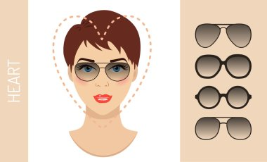 Set of woman sunglasses shapes for heart women face type. Vector illustration.