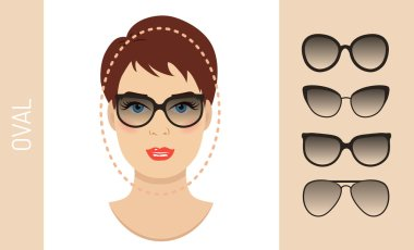 Set of woman sunglasses shapes for oval women face type. Vector illustration.