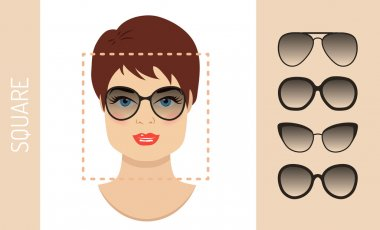 Set of woman sunglasses shapes for square women face type. Vector illustration.