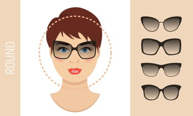Set of woman sunglasses shapes for round women face type. Vector illustration.